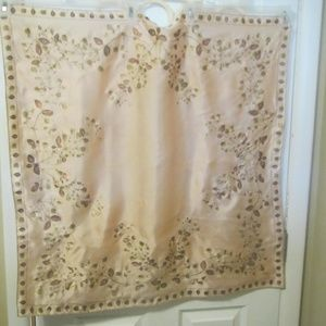 Vintage Vera Silk Scarf Painted with Copper / Gold